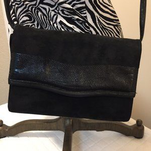 Neiman Marcus black suede clutch made in Italy